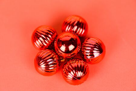 Christmas ball decoration for pine tree with red balls holiday red background  christmas festive xmas winter and Happy New Year object concept Imagens