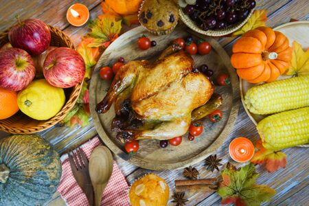 Thanksgiving table Celebration Traditional Setting Food or Christmas table decorated many different kinds of food Thanksgiving dinner with turkey vegetable fruit served on holiday , top view  Stok Fotoğraf