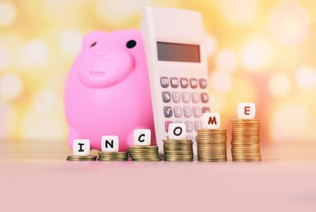 income growth money coins on table  Pile of golden coin stack step up growing growth saving Concept with piggy bank calculator money financial business