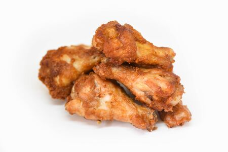 Fried chicken wings isolated on white background  Baked chicken wings BBQ , wings crispy Stock fotó
