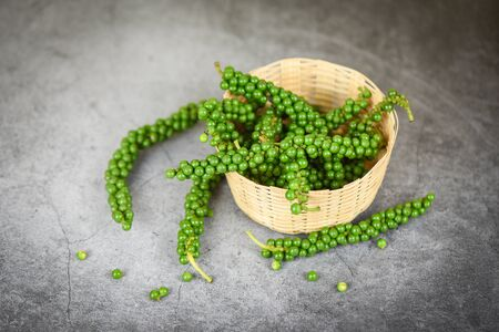 peppercorns on basket / fresh green peppercorn seed for ingredients cuisine thai food herbs and spices