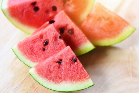 Fresh watermelon slice on wooden background  Close up watermelon tropical fruit on cutting board