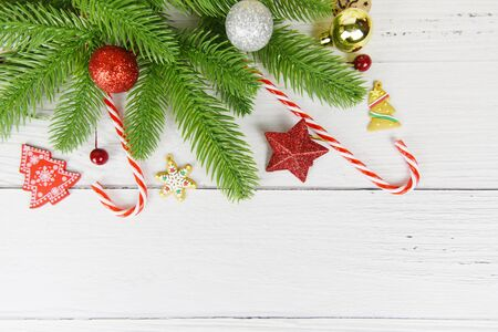 Christmas background wood fir branches christmas decoration pine tree with bell festive xmas winter and Happy New Year object holiday concept , top view