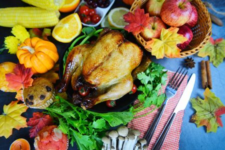 Thanksgiving table Celebration Traditional Setting Food or Christmas table decorated many different kinds of food Thanksgiving dinner with turkey vegetable fruit served on holiday , top view  Banco de Imagens
