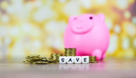 Concept of save money coin stack growing business or investment or scholarship  Save money and piggy bank on the wooden table bokeh background