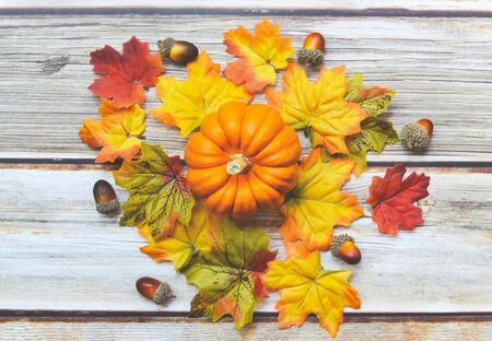 Thanksgiving background frame autumn leaf decoration festive on wooden  Autumn table setting with pumpkins holiday