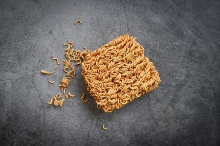 Top view of instant noodles on the dark background  Noodle thai junk food or fast food diet unhealthy eating concept