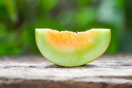 Cantaloupe Melon Muskmelon Cucurbitaceae Sliced cantaloupe thai tropical fruit asian and flower on nature background