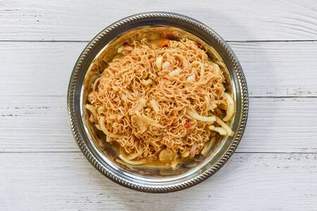 Cooked instant noodles on plate / Noodle spicy salad thai food Stock Photo - 133823126