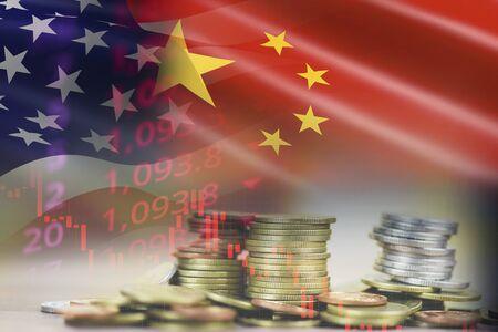 美国和中国的贸易战经济衰退冲突税收企业融资货币/美国提高了进口中国在出口和进口物流关税和库存图表的产业税