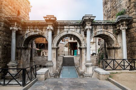 Resort city Antalya turkey travel famous landmark  arch walkway architecture view of Hadrians Gate in old city