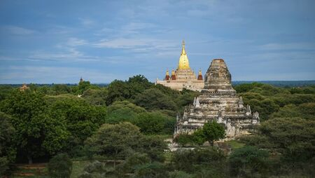 Pagoda landscape in the plain of Bagan Myanmar Burma  Myanmar landscape travel landmark famous and scene of ancient temples