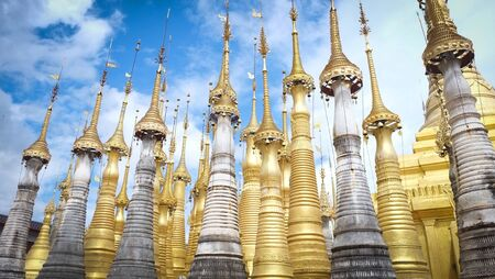 Myanmar landscape travel landmark famous and scene of ancient temples  Golden stupas, Shwe Inn Thein Paya, Inthein, Inle Lake, Myanmar.