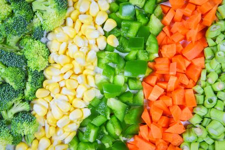 Vegetables and fruits background healthy food for life  Assorted fresh fruit yellow and green vegetables mixed selection various broccoli bell pepper carrot corn slice and yardlong beans for health Stok Fotoğraf