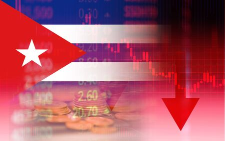 Cuba crisis economy stock exchange down chart fall graph finance Cheap oil , Oil shortage  Economic problems that occurred in both Venezuela and Cuba and boycott from usa on Cuba flag