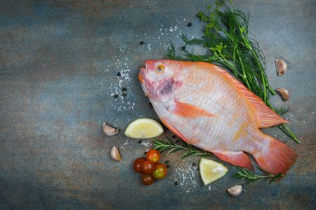 Fresh fish with herbs spices rosemary and lemon garlic tomato / Raw fish red tilapia on dark plate background