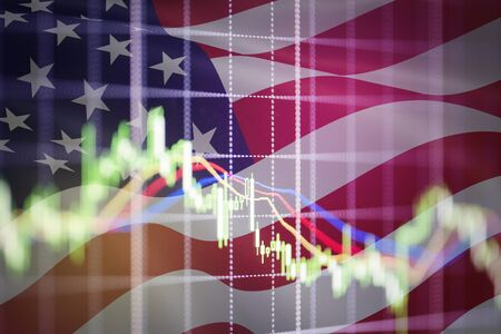 USA. America stock market  New york stock exchange analysis forex indicator Trading graph chart business growth finance money crisis economy and dollar Trade war with America USA and China