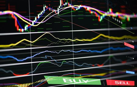 Stock market graph business up trend  forex trading and candlestick analysis investment indicator of financial board display money price stock chart exchange growth and crisis money with buy and sell Stock Photo