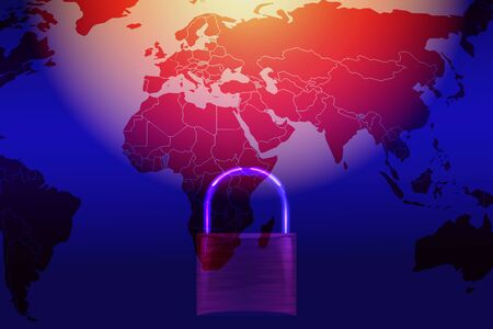 Data security systems computer with locked padlock on world map for protect crime by an anonymous hacker internet and data network  technology background cyber security concept