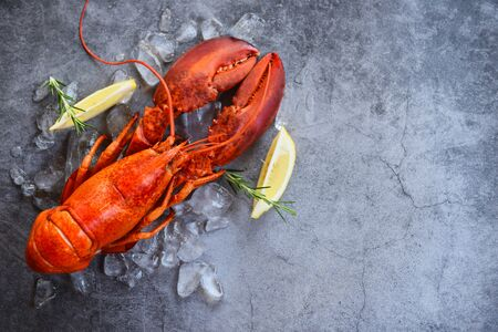 Fresh lobster food on a black plate background  red lobster dinner seafood with herb spices lemon rosemary served table and ice in the restaurant gourmet food healthy boiled lobster cooked 版權商用圖片