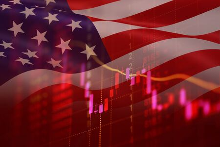 USA recession economy stock crash red market trade war economic world financial / business and stock crisis and markets down because of pandemic coronavirus COVID-2019 or protesters usa