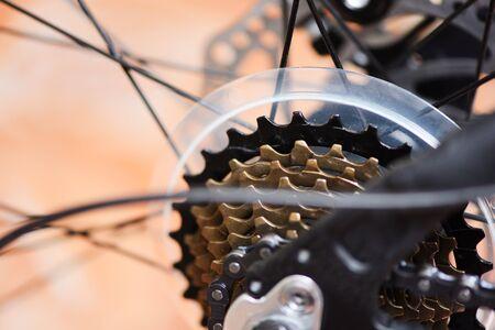 Rear wheel and chain in a mountain bike / The back disc brake bike , bicycle gears