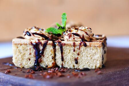Coffee cake topping chocolate delicious sweet dessert served on the table