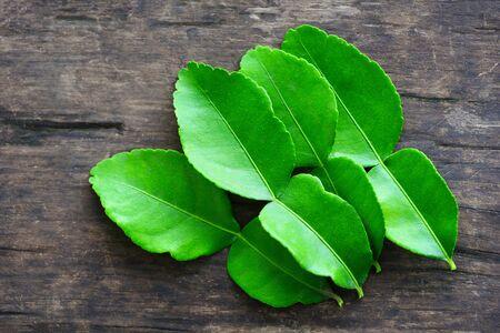 Kaffir lime leaves on wooden background from the tree / bergamot leaf