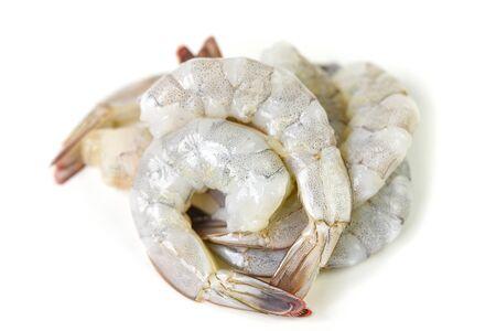 Fresh raw shrimps prawns isolated on white background / Peel shrimp seafood