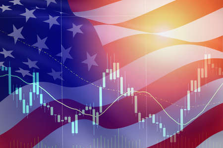 Business candle stick graph chart of stock market USA recession economy stock crash red market trade war economic world financial / business stock crisis and markets down Coronavirus or covid-19
