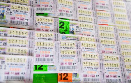 Bangkok Thailand August 12 , 2020: Thai lottery tickets on open box on street Thailand Publikacyjne