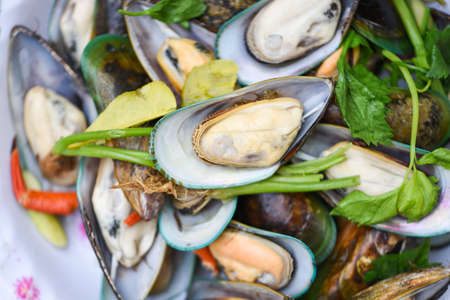 Seafood shellfish steamed mussels / Mussels cooked food with herb ingredients