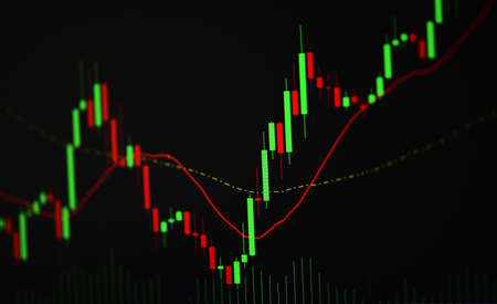 Business candle stick graph chart of stock market investment trading on background design / Trend of stock market graph exchange financial economy concept
