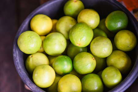 Fresh limes lemon harvest from the garden farm agricultural