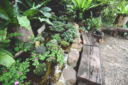 Water stream or Small waterfall decorate front yard / nature garden with plant tree flowers in the asian with a pond park