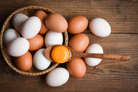 Chicken eggs and duck eggs collect from farm products natural in a basket healthy eating concept / Fresh broken egg yolk