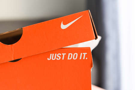 Nike running shoes box with Just Do It and nike logo on orange box in the store : Bangkok Thailand November 4, 2020