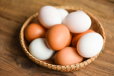 Chicken eggs and duck eggs collect from farm products natural in a basket healthy eating concept, Fresh egg