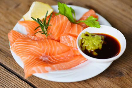 Wasabi sauce raw salmon filet / Fresh salmon fish for cooking salad seafood japanese food
