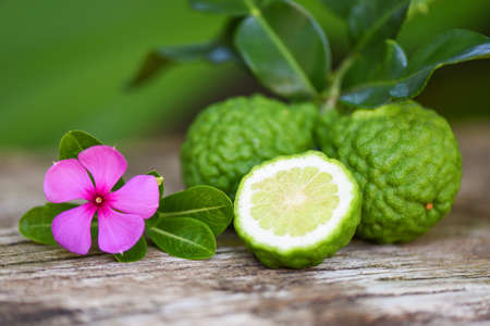 Fresh bergamot fruit and pink flower, Kaffir Lime, Citrus bergamia with leaf on wooden table / Slice bergamot citrus fruit essential oil concept