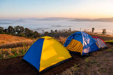 Camping tent area on mountain, tourist tent camping with fog mist landscape sunrise beautiful in winter view outdoor travel