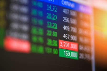 Stock market digital graph chart business indicator stock exchange trading analysis investment financial on display crisis stock crash down and grow up gain and profits financial impact or forex graph