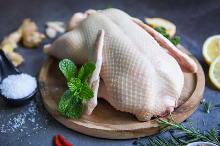 Raw duck with herb spices ready to cook on dark palte, Fresh duck meat on wooden tray for food, Whole duck - close up
