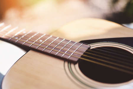 Home hobbies - Close up acoustic guitar Musical instrument for recreation or hobby passion concept.