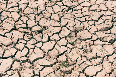 Cracked soil arid land with dry and cracked ground desert texture background, Global warming concept 写真素材
