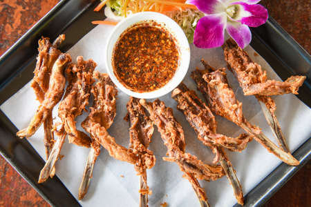 Deep fried duck mouth, Food cooked duck head Thai and Chinese traditional cuisine