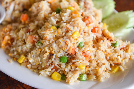 Fried rice on plate menu Asia Chinese China and thai food cuisine, Egg and vegetable fried rice healthy food