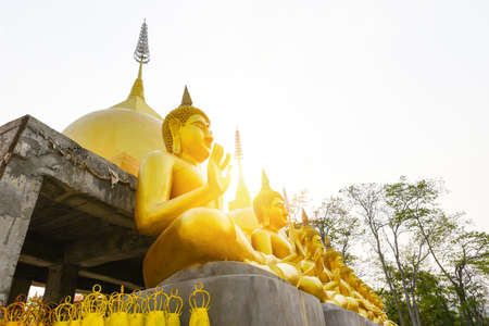 Pagoda thai with buddha statue in temple Thailand