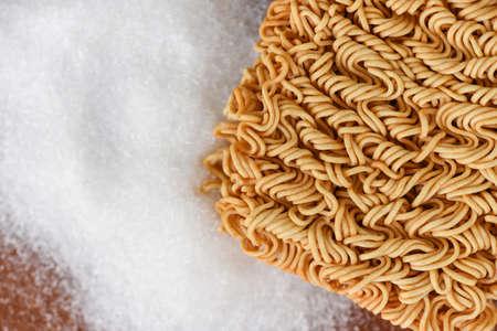 instant noodles on seasonings monosodium glutamate, Noodle thai junk food or fast food diet unhealthy eat msg concept