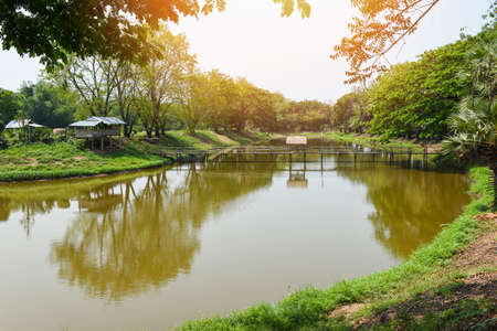 Quiet river nature countryside Asian, Green park with tree and sunlight in the summer landscape river with wooden bridge 版權商用圖片